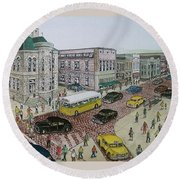 The Portsmouth Ohio Post Office On The Esplanade 1948 Round Beach Towel