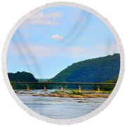 The Potomic River West Virginia Round Beach Towel by Bill Cannon