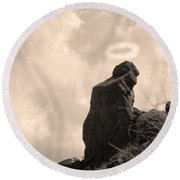 The Praying Monk With Halo - Camelback Mountain Round Beach Towel by James BO  Insogna