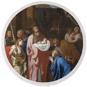 The Presentation Of Christ In The Temple Round Beach Towel