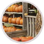 The Pumpkin Shack At Isom's Orchard Round Beach Towel