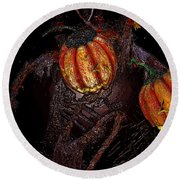 The Pumpkins In The Field Round Beach Towel