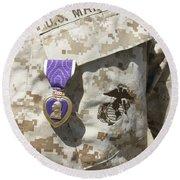 The Purple Heart Award Hangs Round Beach Towel by Stocktrek Images