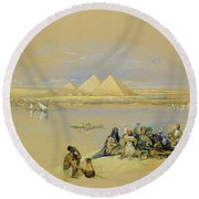 The Pyramids At Giza Near Cairo Round Beach Towel