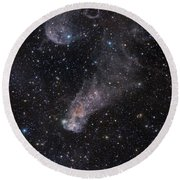 The Question Mark Nebula In Orion Round Beach Towel