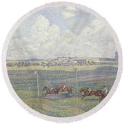 The Racecourse At Boulogne-sur-mer Round Beach Towel