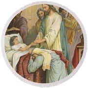 The Raising Of Jairus' Daughter Round Beach Towel