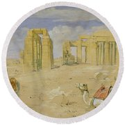 The Ramesseum At Thebes Round Beach Towel