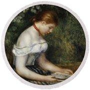 The Reader A Seated Young Girl  Round Beach Towel by Pierre Auguste Renoir