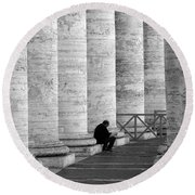 The Reader Amidst The Columns Bw Round Beach Towel