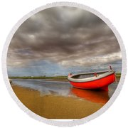 The Red Boat Round Beach Towel