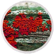 The Red Clouds Round Beach Towel