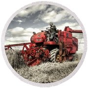 The Red Combine Round Beach Towel