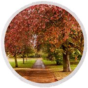 The Red Path Round Beach Towel