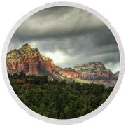 The Red Rocks Of Sedona  Round Beach Towel