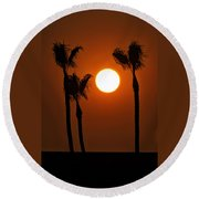 The Red Sunset  Round Beach Towel