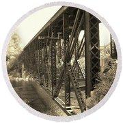 The Retired Railroad Bridge Round Beach Towel
