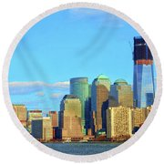 The Rising Freedom Tower Round Beach Towel