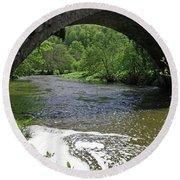 The River Dove Beneath Coldwall Bridge Round Beach Towel