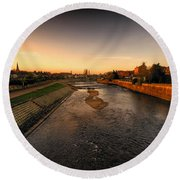 The River Exe At Tiverton Round Beach Towel
