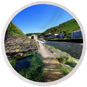 The River Valency At Boscastle Round Beach Towel
