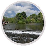 The Riverside And Weir - Bakewell Round Beach Towel