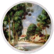 The Road To Essoyes Round Beach Towel by Pierre Auguste Renoir