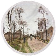 The Road To Saint Cyr At Louveciennes Round Beach Towel by Camille Pissarro