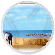 The Romantic Beach Round Beach Towel