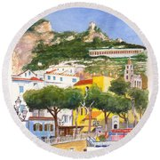 The Ruined Tower Above The Beach At Amalfi On The Southern Italian Coast Round Beach Towel