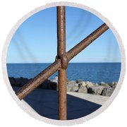 The Rust And The Sea Round Beach Towel