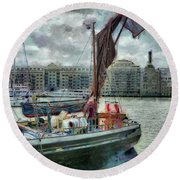 The Sailing Barge Lady Daphne Round Beach Towel