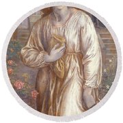 The Salutation  Round Beach Towel by Dante Charles Gabriel Rossetti