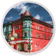 The Sauter Building Round Beach Towel