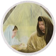 The Savior Is Born Round Beach Towel