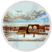 The Schoolhouse Winter Morning Quebec Rural Landscape Round Beach Towel