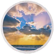 The Sea In The Sunset Round Beach Towel