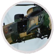 The Sea King Helicopter In Use Round Beach Towel by Luc De Jaeger