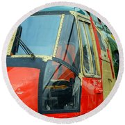 The Sea King Helicopter Used Round Beach Towel by Luc De Jaeger