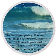 The Sea Poster Round Beach Towel