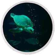 The Sea Turtle Dives Round Beach Towel