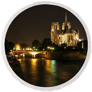 The Seine And Notre Dame At Night Round Beach Towel