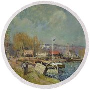 The Seine At Port-marly Round Beach Towel by Alfred Sisley