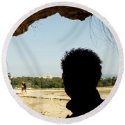 The Shadow And The Light Round Beach Towel