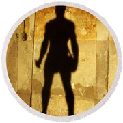The Shadow Of The Statue Round Beach Towel