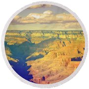 The Shadows In The Canyon Round Beach Towel
