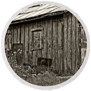 The Shed Sepia Round Beach Towel by Steve Harrington