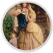 The Sinews Of Old England Round Beach Towel by George Elgar Hicks