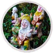 The Singing Gnomes Round Beach Towel