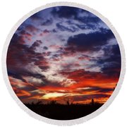 The Sky Is On Fire  Round Beach Towel
